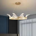 Cartoon Crown Chandelier Pendant Light Metallic LED Bedroom Hanging Lamp Kit in Pink/Gold, Warm/White Light