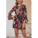 Trendy Allover Floral Printed Bell Sleeve V-neck Short A-line Dress in Black