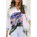 Fashion Flower Printed Long Sleeve V-neck Loose Fit Tee Top for Women