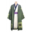 Harajuku Surplice Neck Contrasted Long Relaxed Kimono & Geometric Printed Long Sleeve Oversize Coat Set in Green