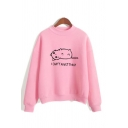 Cute Cat Print Mock Neck Pink Long Sleeve Casual Pullover Sweatshirt for Girl