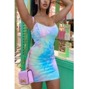Edgy Girls Tie Dye Printed Sheer Straps Scoop Neck Short Tight Cami Dress in Blue