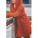 Fashionable Solid Color Cable Knitted Long Sleeve Hooded Long Loose Fit Cardigan for Girls