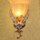 Bowl Resin Wall Lighting Sconce Traditional 1 Head Bedroom Wall Mounted Lamp in Gold