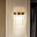 Single-Bulb Flush Wall Sconce Modern Dining Room Wall Mount Lamp with Cylindrical Crystal Rods Shade in Black
