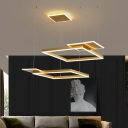 Metal Square Frame Multiple Hanging Light Simplicity LED Pendant Ceiling Lamp in Gold/Coffee, White/Warm Light