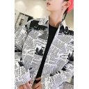 Newspaper Printed Lapel Collar Long Sleeve Buttons Down Shirt