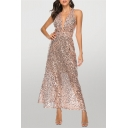 Amazing Sequins Embellished Sleeveless Plunging Neck Criss Cross Back Long A-line Tank Dress in Pink
