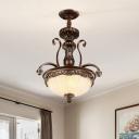Farmhouse Bowl Shape Ceiling Chandelier 3 Lights White Glass Hanging Pendant in Bronze