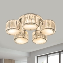 5/6 Heads Clear Crystal Semi Flush Contemporary Chrome Round Living Room Ceiling Mount Chandelier