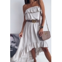 Stylish Womens Belted Asymmetric Drape Solid Color Midi A-line Bandeau Dress with Ruffle
