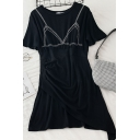 Novelty Contrast Piped Pleated Patchwork Asymmetric Crew Neck Short Sleeve Short A-Line Dress for Womens