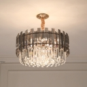 Contemporary 9-Light Hanging Lamp with Crystal Rectangle Shade Clear Tiered Ceiling Chandelier for Living Room