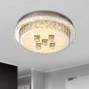 Faceted Clear Crystal Circular Ceiling Lamp Modern LED Flush Mount Light Fixture for Bedroom