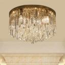 Chrome/Gold Circle Ceiling Light Fixture Modern 6-Light Crystal Rectangle Flush Mount Lamp for Bedroom
