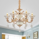 Candlestick Crystal Chandelier Traditional 6/8 Heads Bedroom Hanging Ceiling Light in Gold