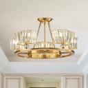 Postmodern Circle Flush Chandelier 5-Head Crystal Prism Semi Flush Mount Ceiling Light in Gold