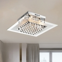 Cubic Crystal Orbs Semi Flush Modern 5-Bulb Living Room Ceiling Mount Light with Square Clear Glass Diffuser in Chrome