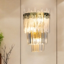 Crystal Gold Flush Wall Sconce Layered Half Cylinder 3 Lights Postmodern Wall Lamp