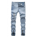 Mens Street Fashion Zip Cuff Pleated Knee Patched Light Blue Ripped Biker Jeans
