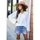Chic Womens Solid Color Stringy Selvedge Tie Front V Neck Bishop Long Sleeve Relaxed Fit Blouse Top