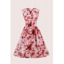 Boutique Ditsy Floral Print Pleated Waisted Contrast Button Down Notched Sleeveless Midi Swing Dress for Womens