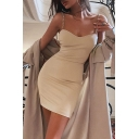 Popular Womens Solid Color Backless Metal Chain Straps Sleeveless Mini Bodycon Slip Dress