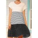 Trendy Womens Striped Polka Dot Print Ruffled Short Sleeve V-neck Short Swing T Shirt Dress