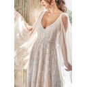 White Novelty Womens Sequin Embellished Deep V Neck Sleeveless Floor Length Fit&Flare Gown