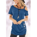 Trendy Womens Plain Button Pleated Straps Short Cold Shoulder Tunic Loose Fit Tee Top