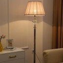 Pleated Fabric Barrel Floor Light Modernist Single Bulb Champagne Standing Floor Lamp with Crystal Detail
