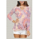 Floral All over Printed Long Sleeve V-cut Twist Front Relaxed Fit Fashion Tee Top