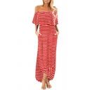 Leisure Womens Stripe Printed Off the Shoulder Twist Hem Slit Side Long Shift Dress
