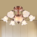 8-Light Semi Flush Light with Scallop Shade Cream Glass Rustic Dining Room Flush Mount in Bronze/Brass/Copper