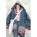 Womens Stylish Denim Panel Zip Placket False Two Piece Loose Jean Jacket with Hood