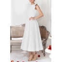 Amazing Solid Color Ruffled Sleeveless Round Neck Mid Pleated Swing Dress for Women
