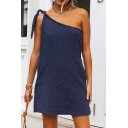 Casual Womens Solid Color Open Back Tie Shoulder Sleeveless Mini Swing Dress