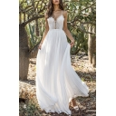 Pretty Ladies Lace Spaghetti Straps Open Back Long Pleated Flowy Slip Dress in White
