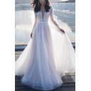 Banquet Ladies Sheer Mesh Long Sleeve Deep V-neck Long Pleated Flowy White Gown