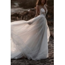 Hot Girls Spaghetti Straps Lace Plunge Neck Maxi Flowy Wedding Gown in White