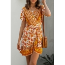Rustic Womens Tribal Floral Printed Ruffle Trim Tie V Neck Short Sleeve Fitted Short Wrap Dress