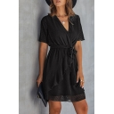Dainty Girls Solid Color Dot Embroidery Knotted Asymmetric Ruffle Cuff Veck Short Sleeve Midi Wrap Dress