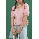 Lovely Girls Solid Color Puff Sleeve Square Neck Ruffled Relaxed Crop Blouse Top