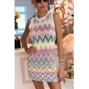 Stylish Womens Lace Trimmed Chevron Printed Sleeveless Crew Neck Short Sheath Tank Dress in Pink