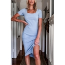 Chic Womens Knit Short Sleeve Square Neck Slit Side Solid Color Mid Sheath Dress