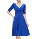 Vintage V Neck Half Sleeve Buttons Front Pleated Fit & Flare Midi Dress