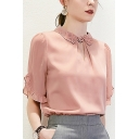 Pink Popular Floral Embroidery Stringy Selvedge Keyhole Front Turn-down Collar Short Sleeve Loose Fit Shirt for Women