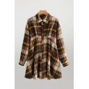 Popular Womens Plaid Printed Long Sleeve Point Collar Button Up Long Relaxed Fit Shirt Top in Khaki