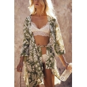 Chic Floral Leaf Print Boho Style Open Front Tie Waist 3/4 Sleeve Oversized Mini Dress Coat for Women