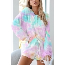 Chic Tie Dye Bishop Long Sleeve Round Neck Button Front Loose Fit Henley T-Shirt & Drawstring Waist Stringy Selvedge Shorts Pajama Set